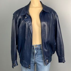 Vintage Firenze buttery leather blue jacket, no sz